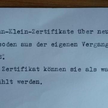 John Klein Zertifikate